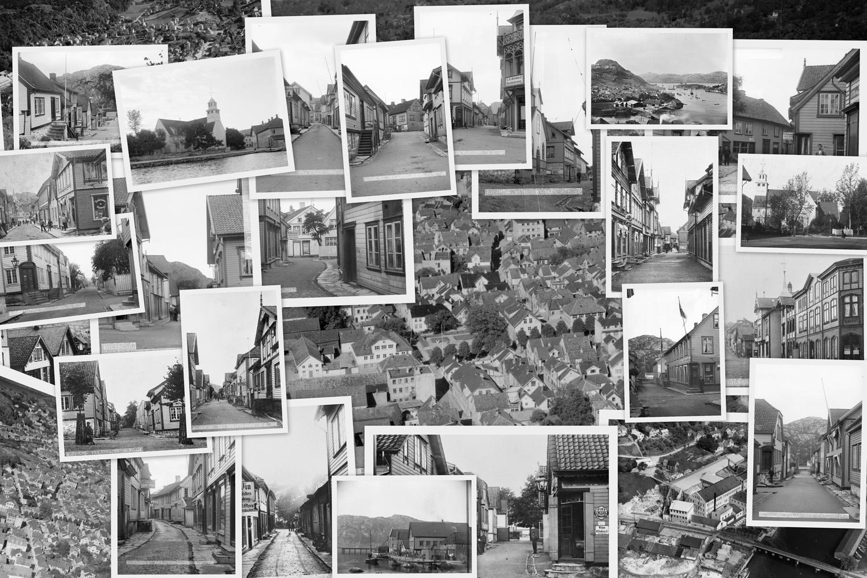 En kollasj av forskjellige bilder fra bildesamlingen ved Dalane Folkemuseum.