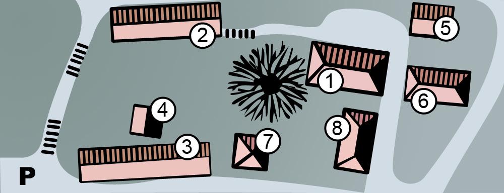 Skissert kart over museumsområdet på Slettebø. 1: Hovedbygning med miljø- og spesialutstillinger. 2: Håndverksavdeling. 3: Landbruksavdeling. 4: Stolpehus fra 1700-tallet. 5: Skolehus. 6: Gårdsbestyrerbolig. 7: Lysthus fra 1830-årene. 8: Vognskjul med resepsjon og toaletter.