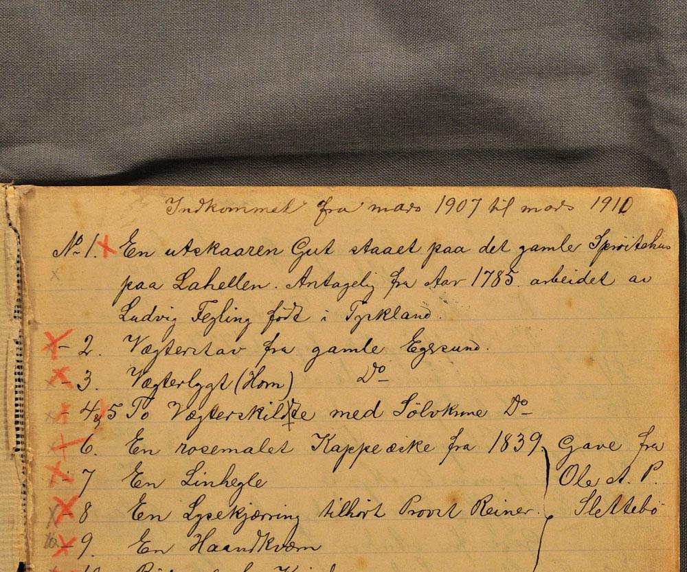 Museets første protokoll fra 1907. Arkiv: Dalane Folkemuseum